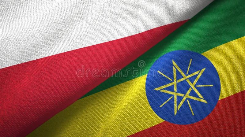 波兰和埃塞俄比亚两旗子纺织品布料,织品纹理 皇族释放例证