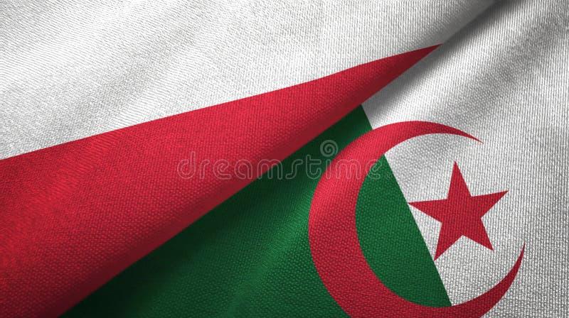 波兰和阿尔及利亚两旗子纺织品布料,织品纹理 库存例证