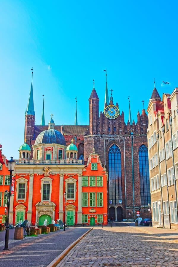 波兰国王皇家教堂有圣玛丽大教堂的格但斯克 库存照片