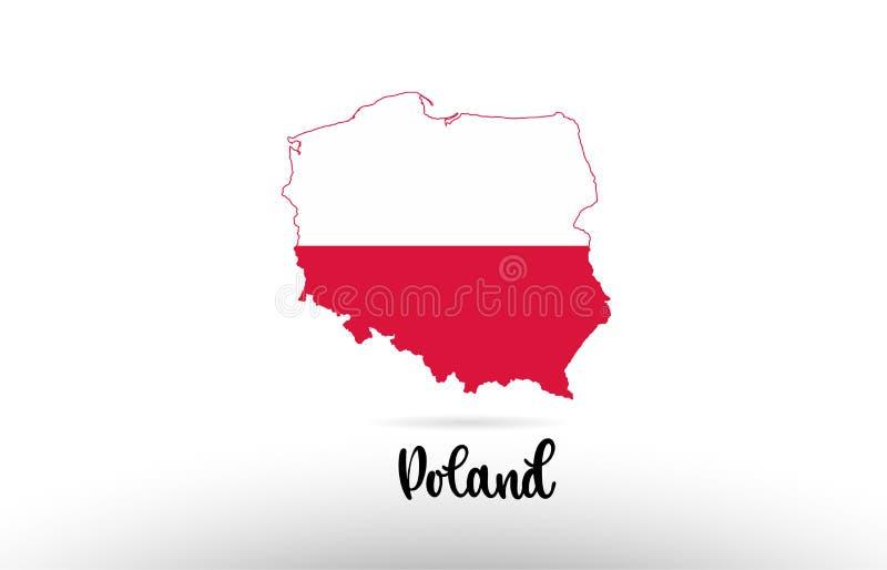波兰在地图等高设计象商标里面的国旗 向量例证