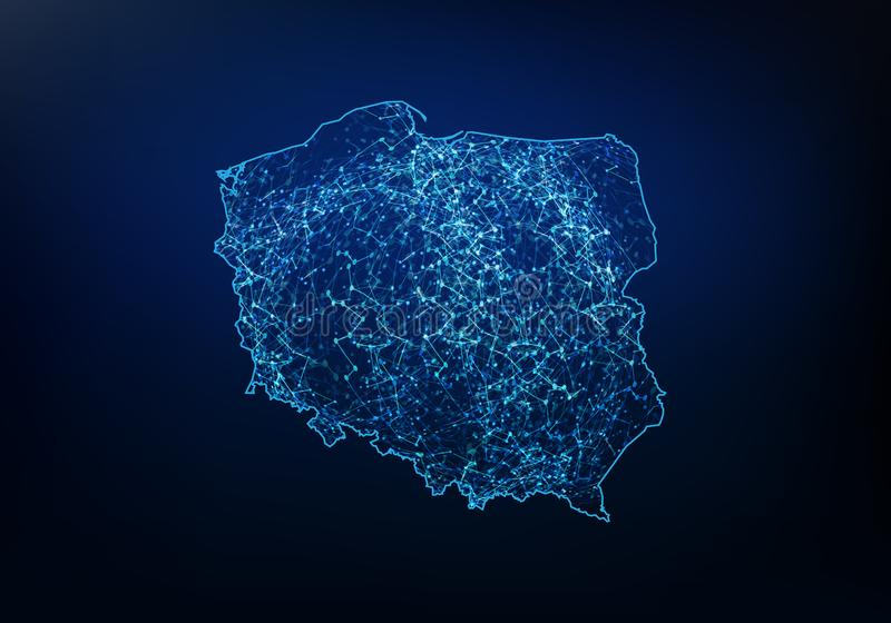 波兰地图网络、互联网和全球性连接概念,导线框架3D滤网多角形网络线,设计球形摘要, 向量例证
