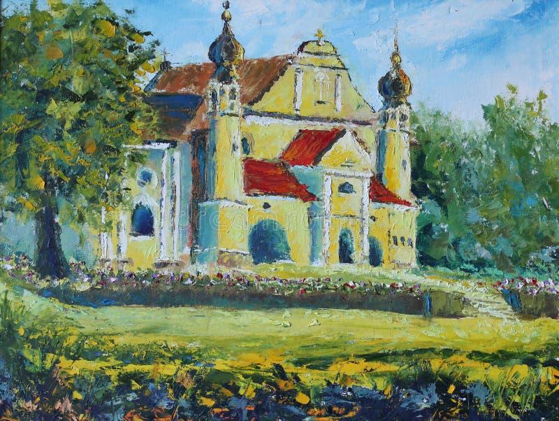 波兰天主教会在村庄在夏天 向量例证