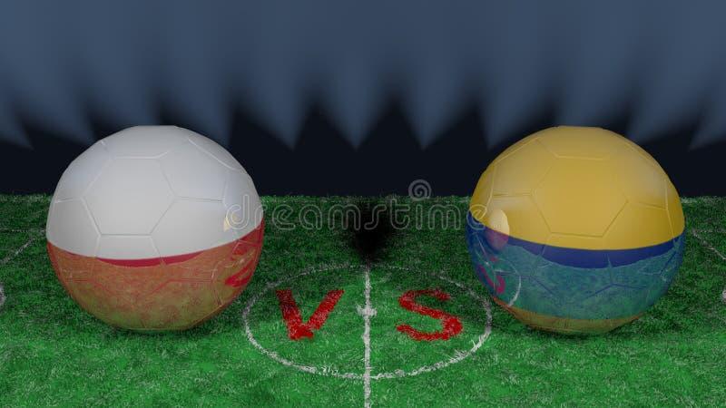 波兰对哥伦比亚 2018年世界杯足球赛 原始的3D图象 向量例证