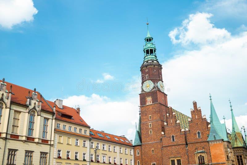 波兰弗罗茨瓦夫市场广场老市政厅 库存照片