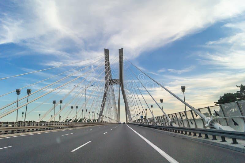 波兰弗罗茨瓦夫雷津斯基大桥 公路旅行 库存照片