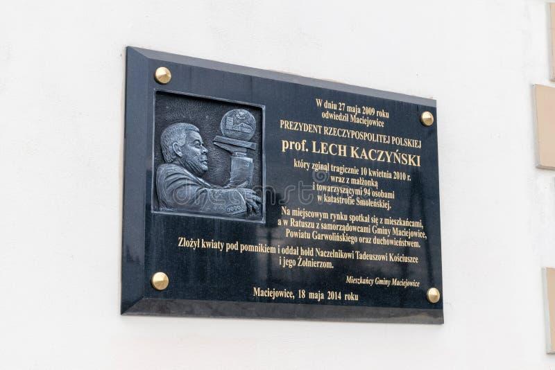 波兰总统的莱赫・卡钦斯基纪念匾 库存图片