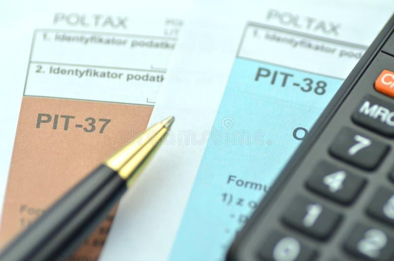 波兰报税表特写镜头  库存照片