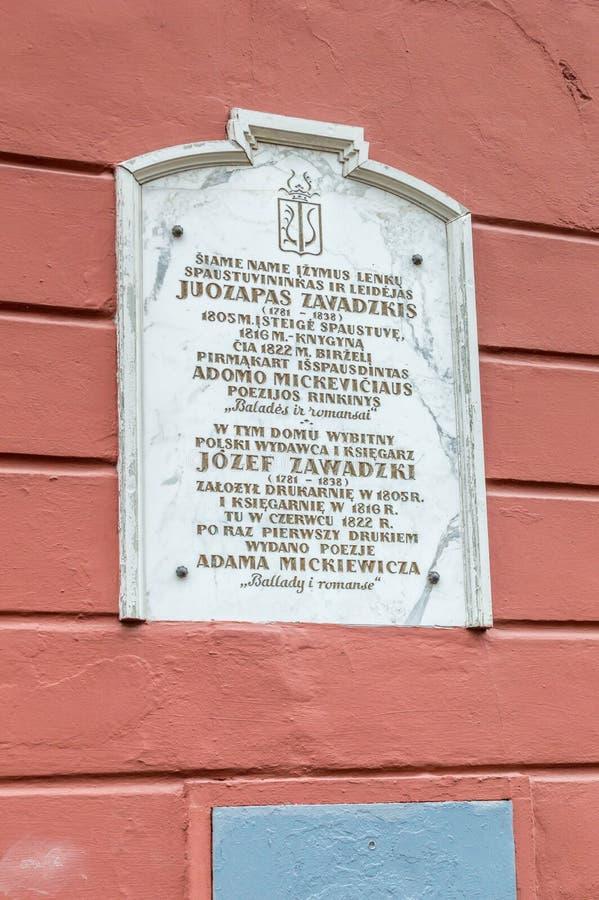 波兰新闻记者、出版者、排稿者和珍藏书籍者的约瑟夫Zawadzki纪念匾 免版税库存图片