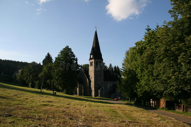 波兰村庄教会 免版税库存图片