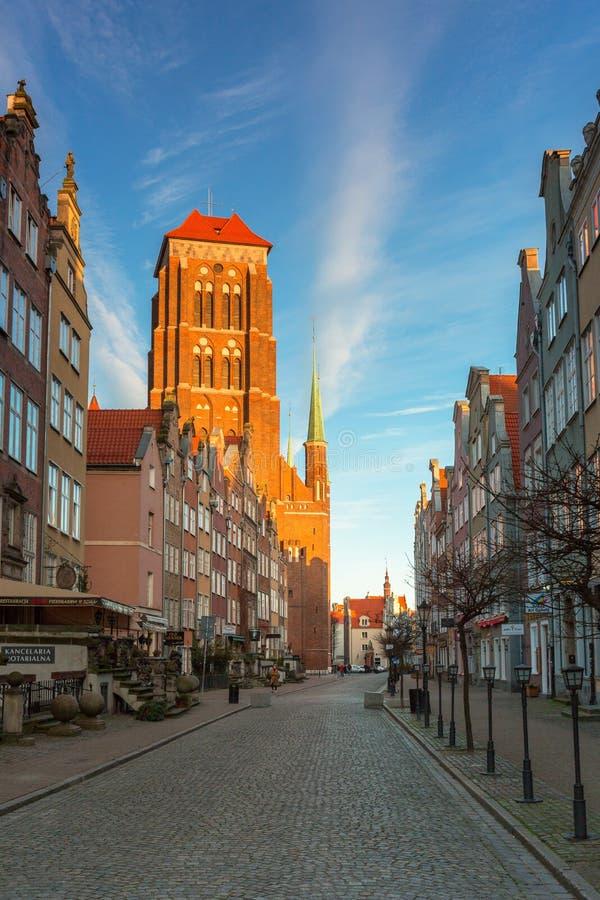 波兰格但斯克市 — 2020年3月19日:日落时分,在格但斯克老城的街道上,没有人出现冠状病毒疫情 库存照片