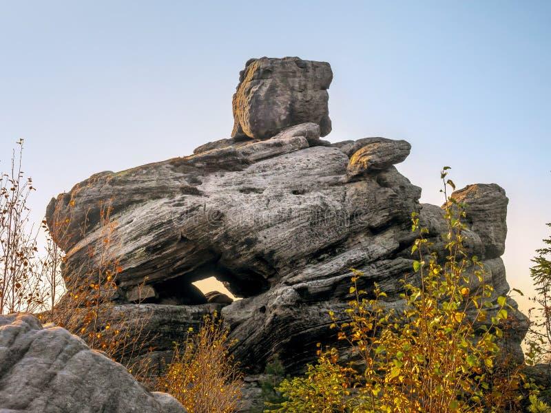 波兰桌山国家公园独特岩层 免版税库存照片
