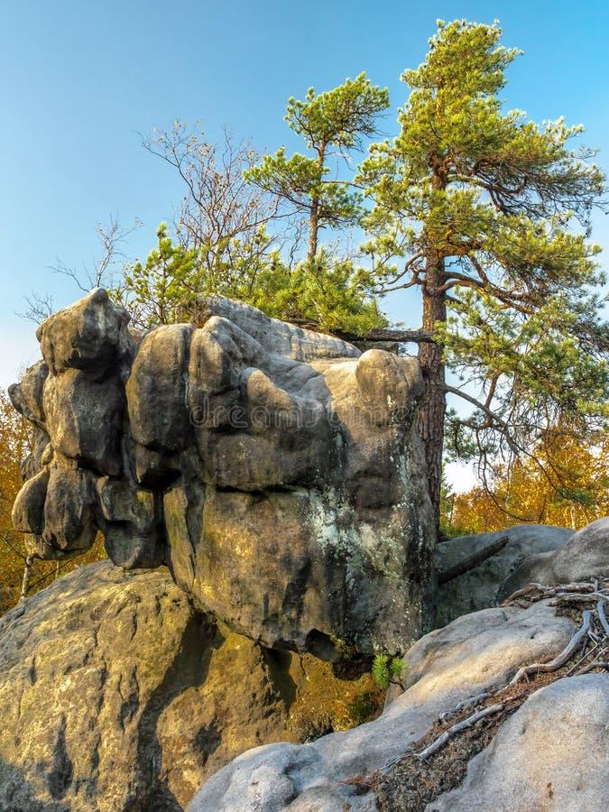 波兰桌山国家公园独特岩层 库存照片