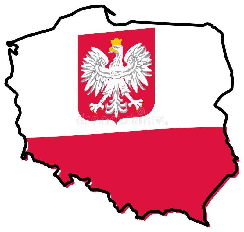 波兰概述被简化的地图,与有一点弯的状态旗子 皇族释放例证