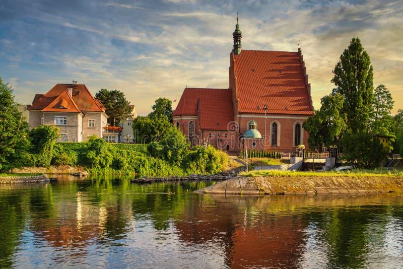 波兰比得哥什老城 库存照片
