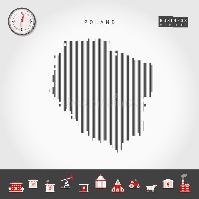 波兰的传染媒介垂直线地图 波兰的镶边剪影 现实指南针 r 向量例证