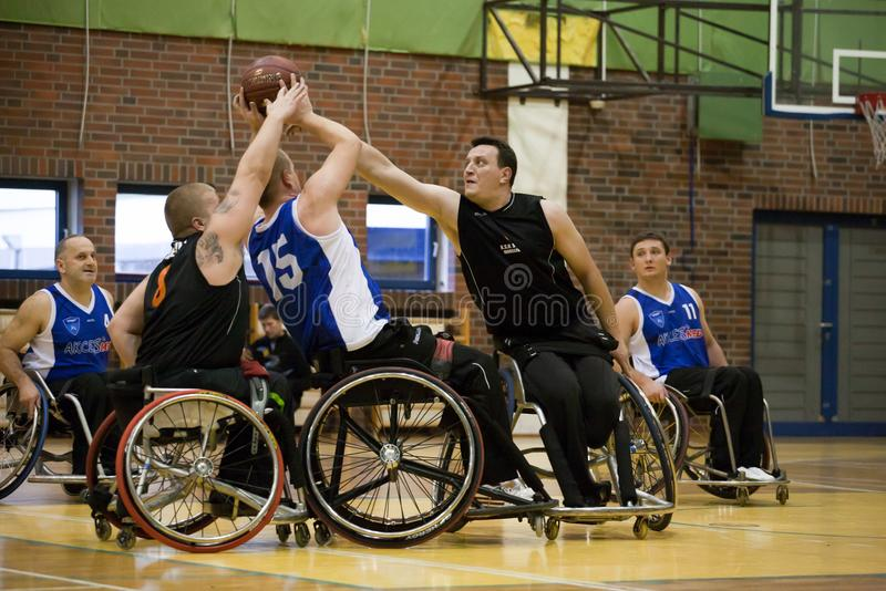 波兰篮球杯的比赛在轮椅2013年 免版税库存图片