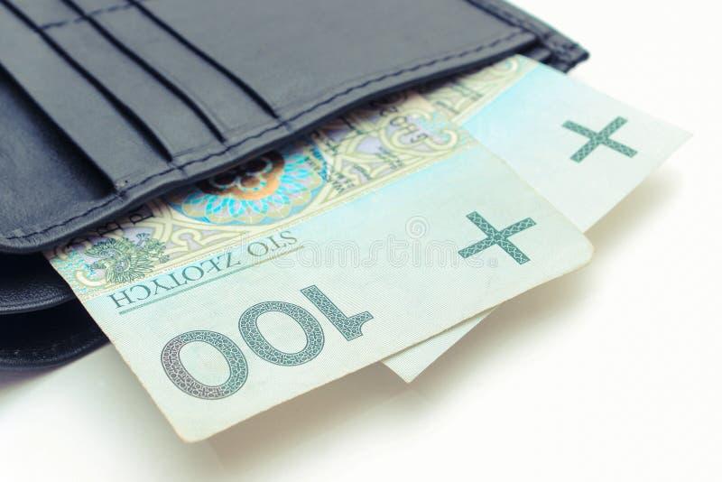 波兰货币金钱在钱包,白色背景,财务概念里 图库摄影
