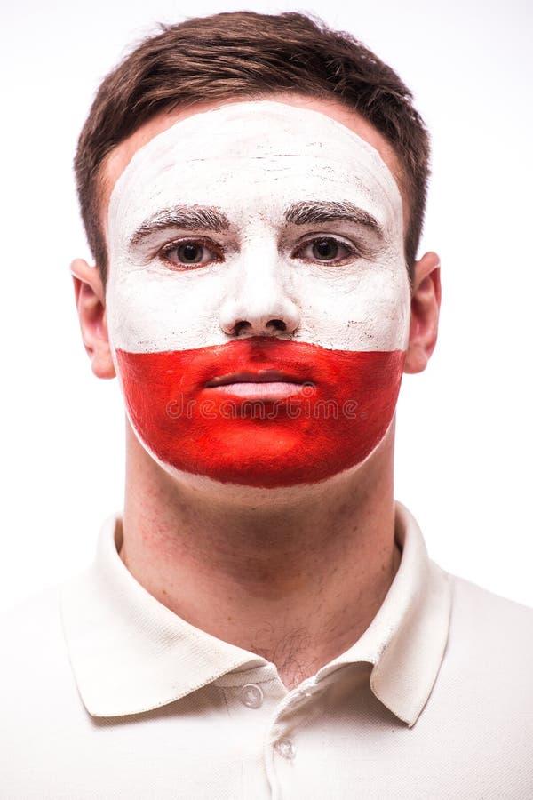 波兰足球迷面孔画象  免版税库存照片