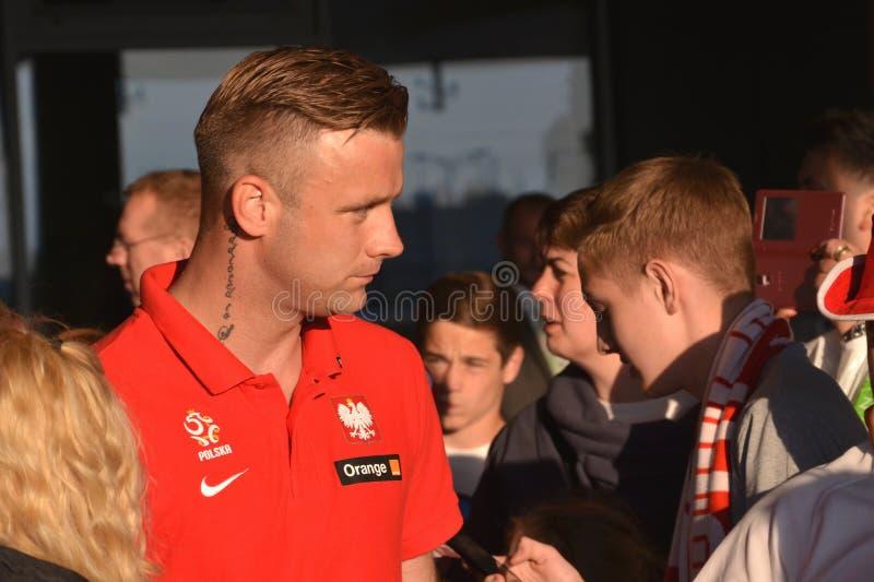 波兰阿尔图尔・博鲁茨的国家队的守门员在友好的足球比赛以后的对立陶宛 库存照片