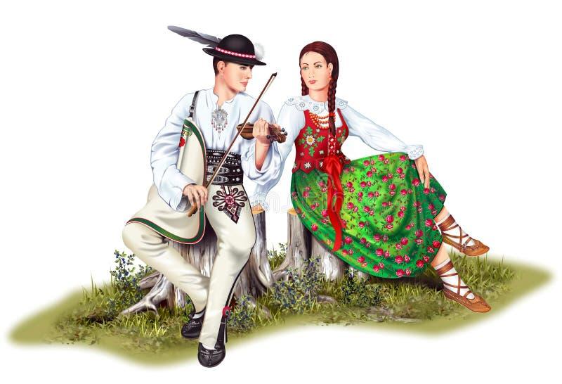 波兰高地居民夫妇 库存例证