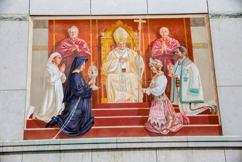 波兰,克拉科夫- 2016年5月28日:圣所在Lagiewniki 免版税库存图片