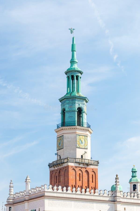 波兹南城镇厅尖沙咀钟楼在波兰 图库摄影