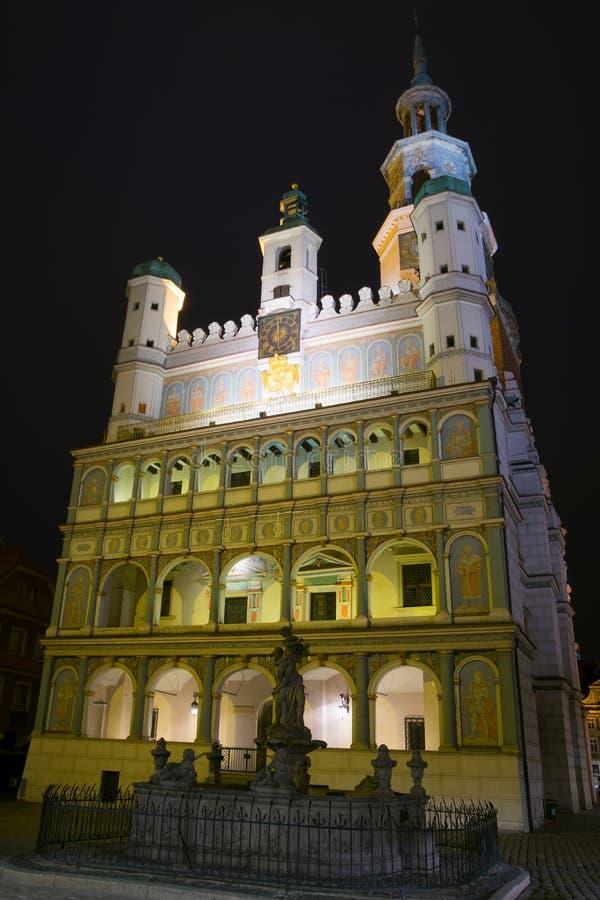 波兹南老镇夜照片有Prozerpin ` s喷泉的 库存照片