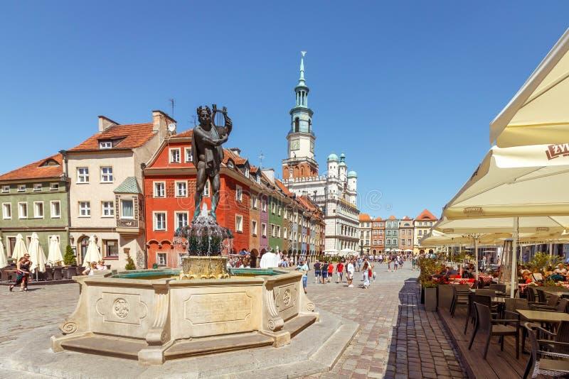 波兹南,波兰- 2019年6月30日 城镇厅、一个喷泉和室外餐馆老市场大广场的在一好日子i 免版税库存图片
