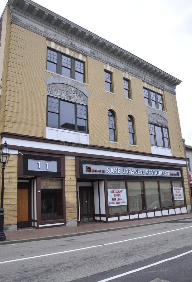 波兹毛斯, 6月30日:从街市波兹毛斯的历史建筑在美国的新罕布什尔 免版税图库摄影