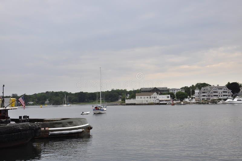 波兹毛斯6月30日:从波兹毛斯街市的老港口在美国的新罕布什尔 免版税图库摄影