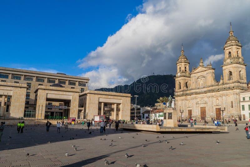 波利瓦广场在波哥大的中心 免版税库存照片