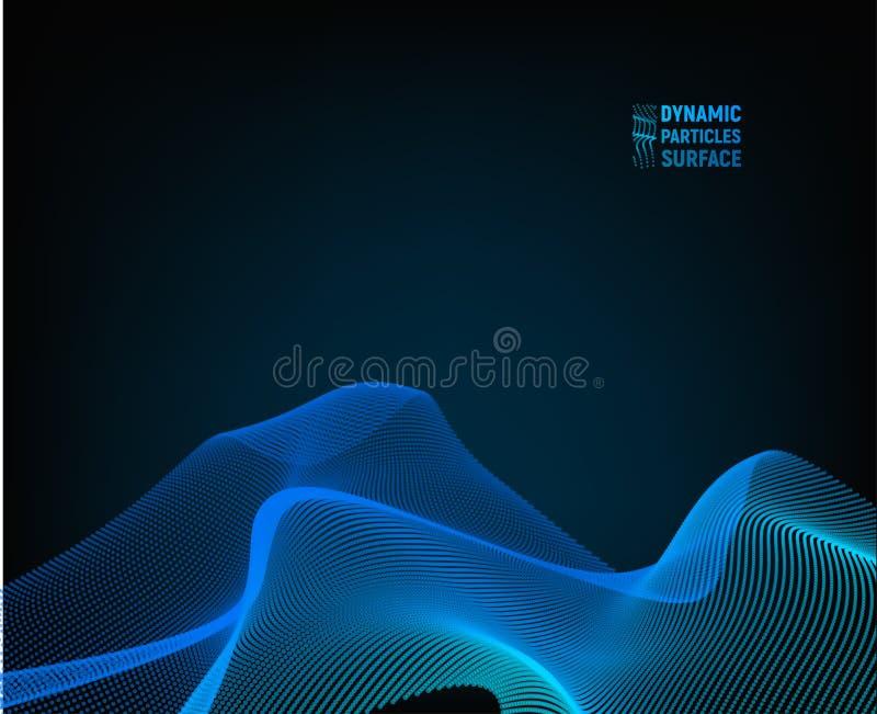 波向量背景 波纹栅格 抽象例证 3D技术样式蓝色表面 皇族释放例证