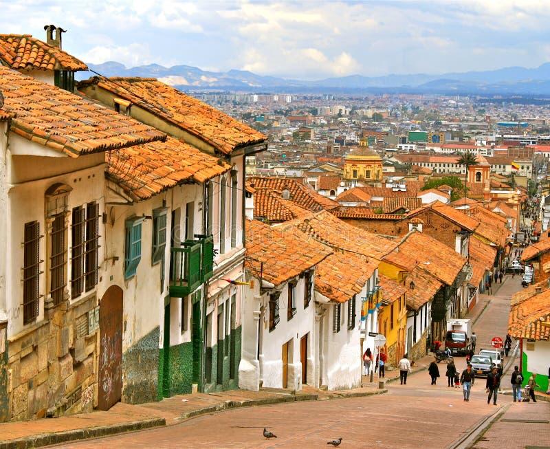 波哥大哥伦比亚殖民地居民街道 免版税图库摄影