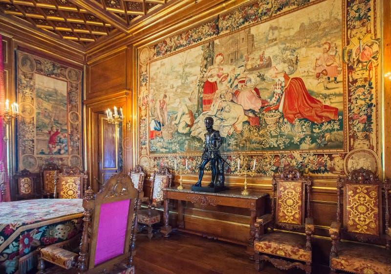 波城城堡(大别墅de波城),法国内部  免版税库存图片