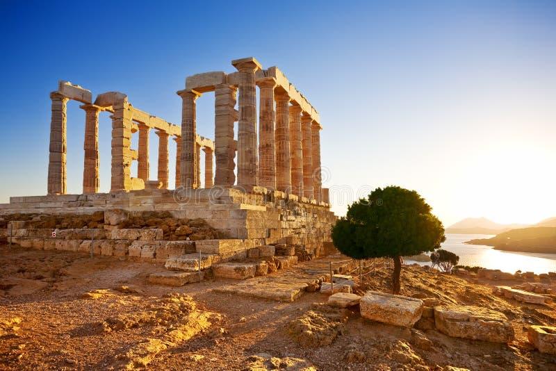 波塞冬寺庙在海角Sounion,希腊的 免版税库存照片