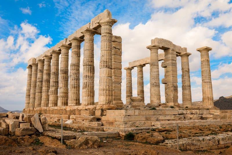 波塞冬寺庙在海角Sounion, Attica,希腊的 免版税图库摄影