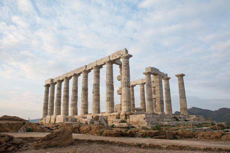 波塞冬寺庙 日落,Sounion,希腊 免版税图库摄影