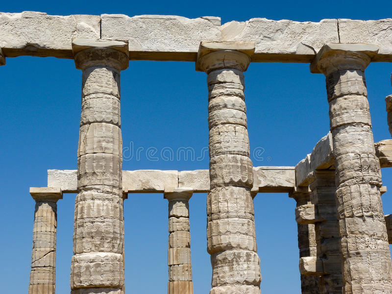 波塞冬海王星寺庙在Sounio希腊 库存图片