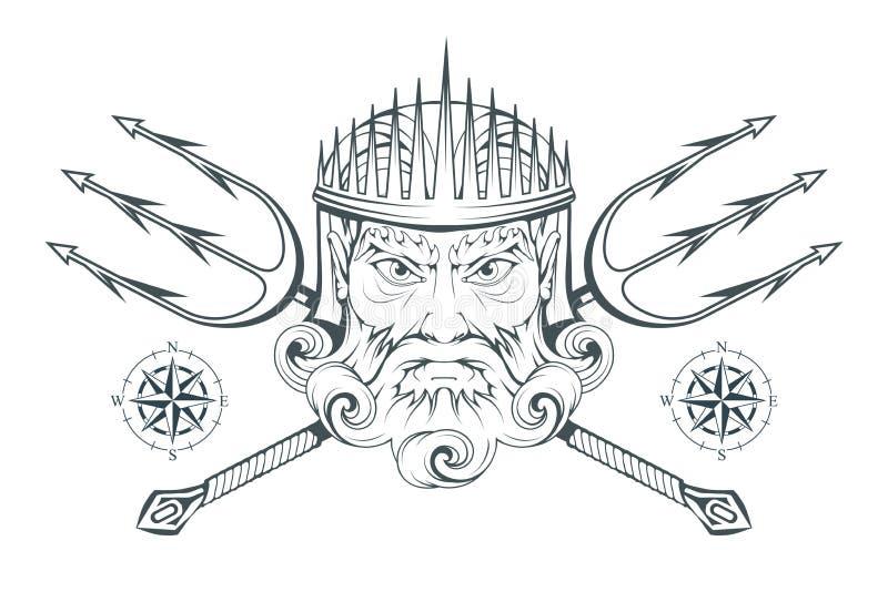 波塞冬-古希腊至尊海神 希腊神话 海王星三叉戟 奥林山神收藏 手拉的人头 博若莱红葡萄酒 向量例证