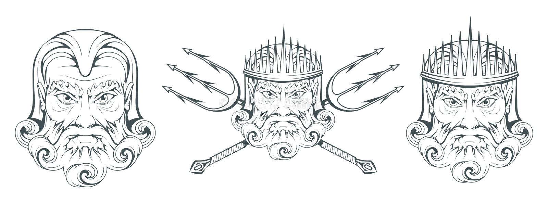 波塞冬-古希腊至尊海神 希腊神话 海王星三叉戟 奥林山神收藏 手拉的人头 博若莱红葡萄酒 库存例证