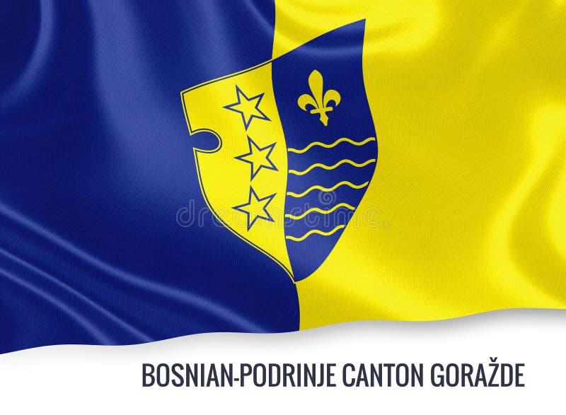 波士尼亚与赫塞哥维纳联邦状态波斯尼亚的Podrinje小行政区GoraÅ 3? de flag 库存例证