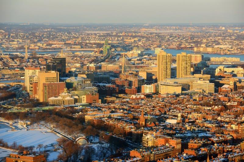 波士顿共同在日落,马萨诸塞,美国 免版税库存图片