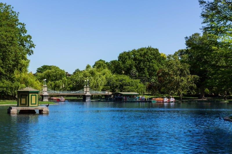 波士顿共同的公园湖在马萨诸塞 库存图片