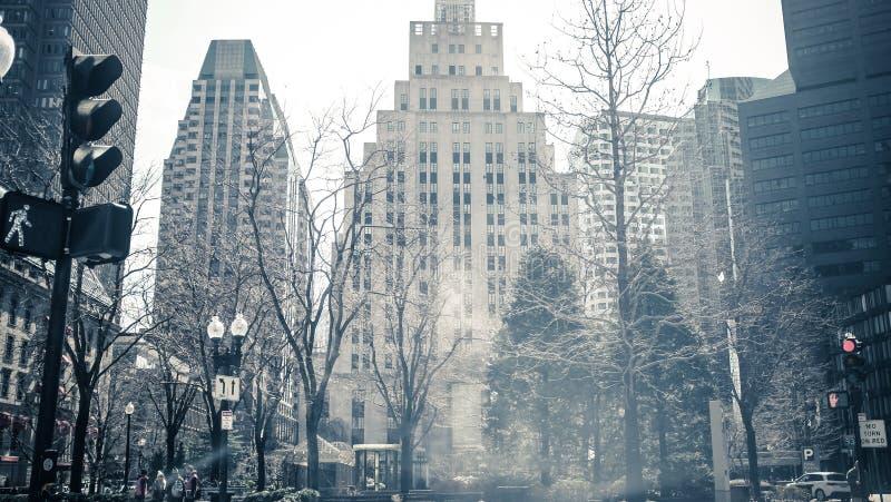 波士顿在一个冷的冬日 免版税库存图片