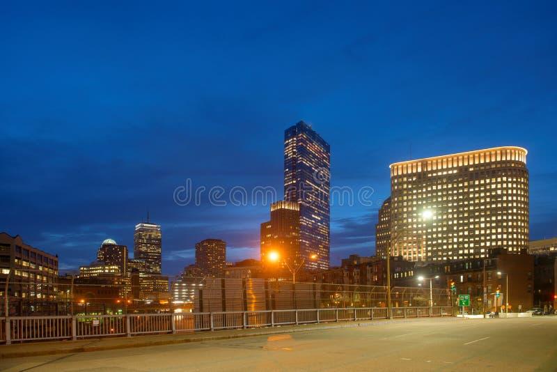 波士顿地平线在晚上,马萨诸塞,美国 库存照片