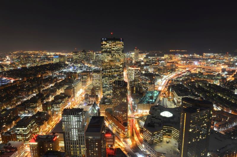 波士顿地平线在晚上,马萨诸塞,美国 图库摄影