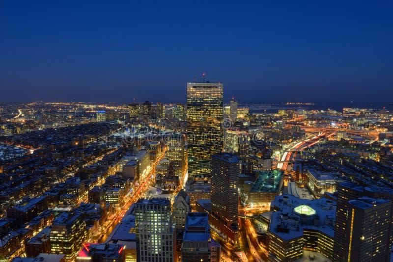 波士顿地平线在晚上,马萨诸塞,美国 库存图片