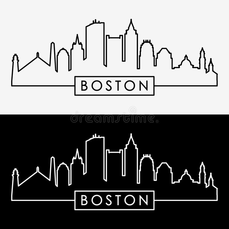 波士顿地平线 线性样式 库存例证
