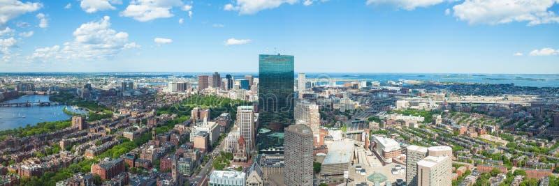 波士顿地平线-马萨诸塞鸟瞰图-美国 免版税库存照片
