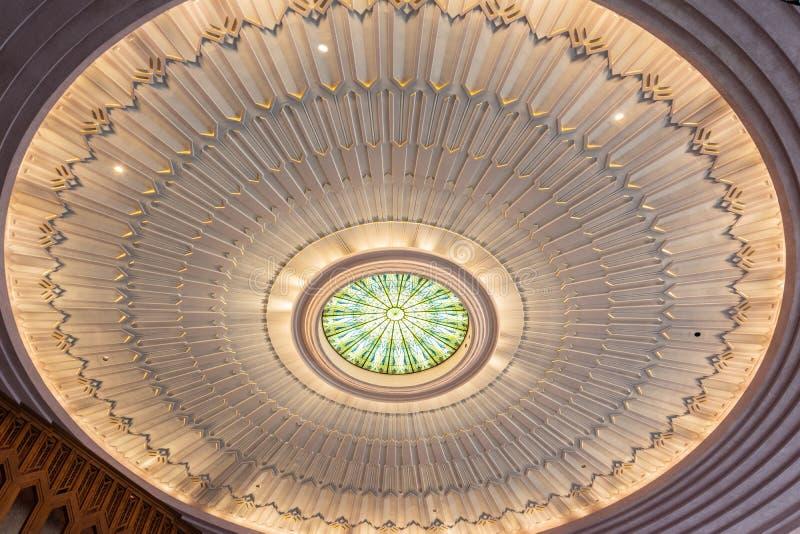 波士顿大道团结的卫理公会的天花板在土尔沙,好 库存照片